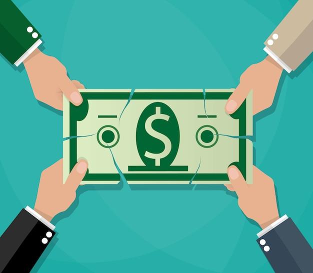 Empresario manos rasgando billetes de dólar