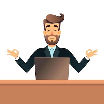 Empresario meditando en posición de loto para la mesa en la oficina con un portátil