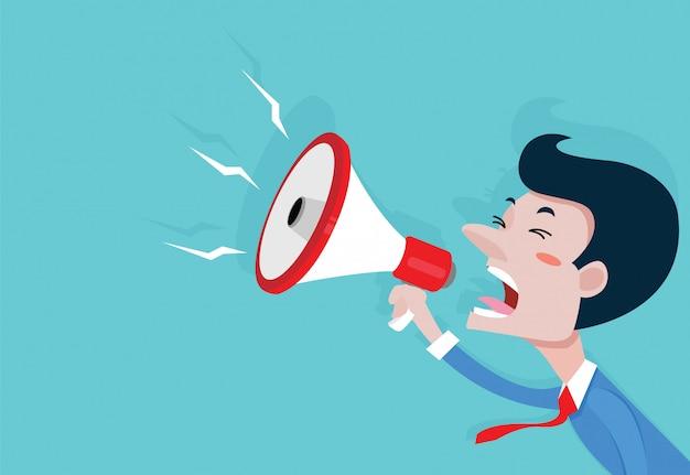 Empresario con un megáfono, vector de dibujos animados de concepto de negocio