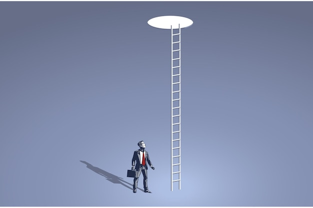 Empresario mirando un agujero con largas escaleras en el collar azul cielo
