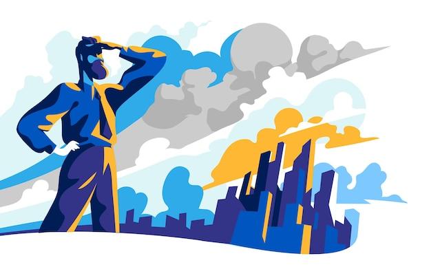Empresario mirando hacia el futuro en busca de nuevas oportunidades comerciales