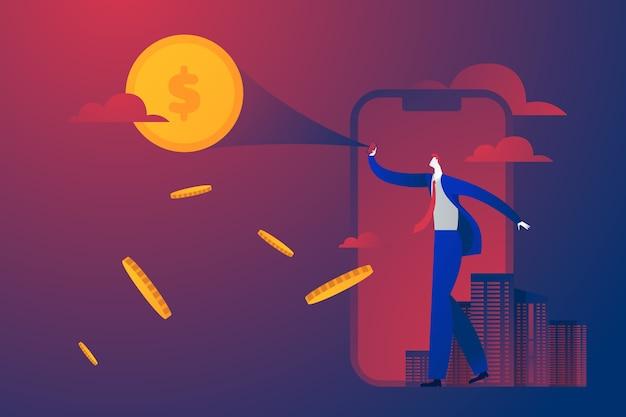 Empresario mirando y mostrando dinero luna en el cielo visión y concepto de negocio de éxito