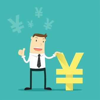 Empresario con moneda yen japonés.