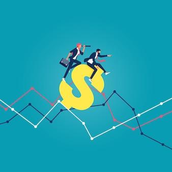 Empresario montando el símbolo del dólar de oro navegando en el cuadro financiero financiero e inversión