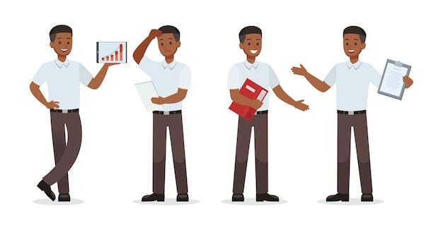 Empresario mostrando diferentes gestos conjunto de caracteres