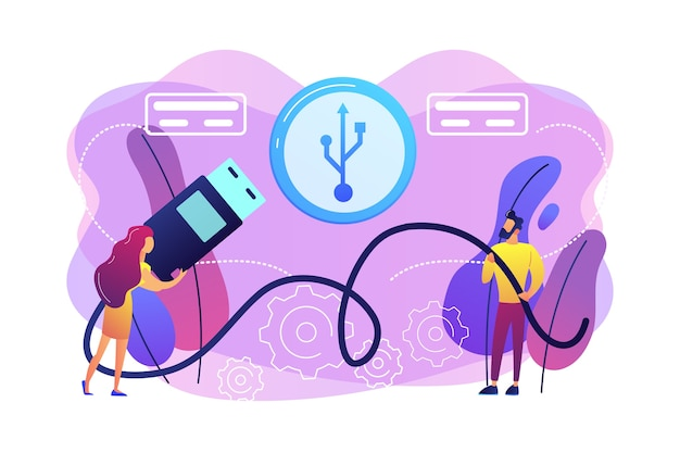 Empresario y mujer eligiendo puerto para insertar cable y símbolo usb. conexión usb, estándar de puerto usb, concepto de comunicaciones de datos digitales. ilustración aislada violeta vibrante brillante