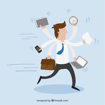 Empresario con multitarea