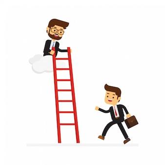 Empresario en la nube ayuda a otro amigo sosteniendo una escalera