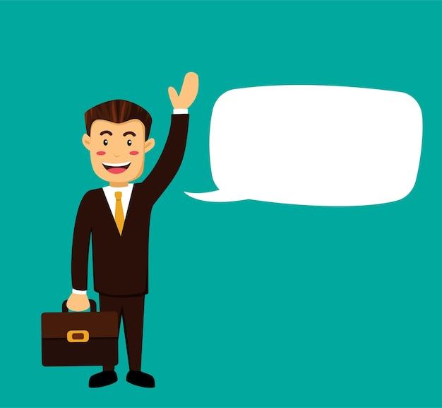 Empresario o gerente de humble smile usa traje marrón y maletín de cary agitando la mano decir hola