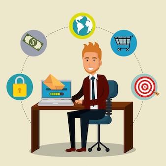 Empresario en la oficina con iconos de marketing por correo electrónico