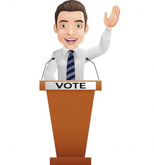 Empresario orador en podio de presentación