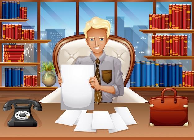 Empresario ordenando archivos