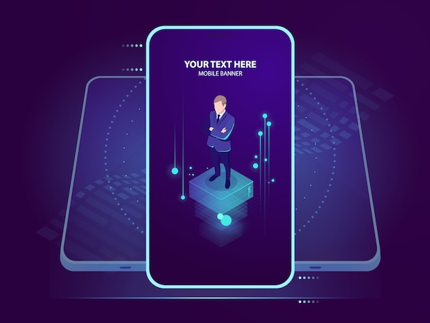 Empresario en la pantalla del teléfono inteligente