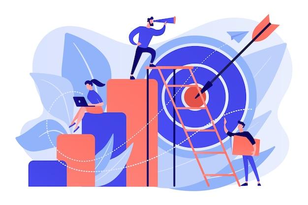 Empresario en la parte superior mirando telescopio y empleados. oportunidad de negocio, bizopp y franquicias, concepto de distribución sobre fondo blanco.