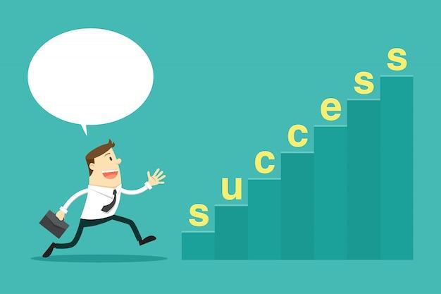 Empresario va a pasos de éxito. ilustración