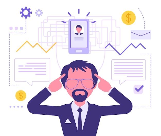 Empresario pensando en plan de negocios