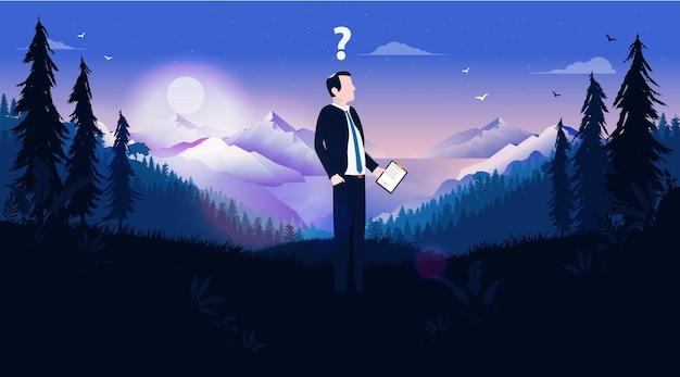 Empresario perdido de pie solo en la naturaleza con signo de interrogación sobre la cabeza