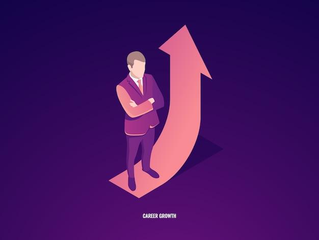 El empresario permanece en la flecha hacia arriba, el crecimiento profesional, el éxito empresarial
