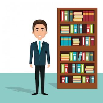 Empresario en el personaje de avatar de biblioteca