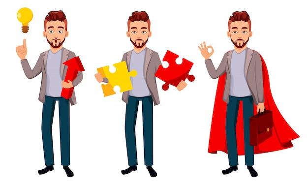 Empresario de personaje de dibujos animados en ropa casual