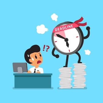 Empresario y personaje de reloj de fecha límite de dibujos animados