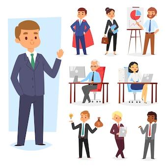 Empresario personas lugar de trabajo y trabajador de negocios o persona que trabaja en la computadora portátil en la mesa en la oficina compañero de trabajo o lugar de trabajo de carácter en la ilustración de computadora en fondo blanco