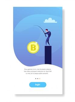 Empresario pesca bitcoin crypto moneda hombre de negocios exitoso minería crecimiento financiero plano vertical copyspace