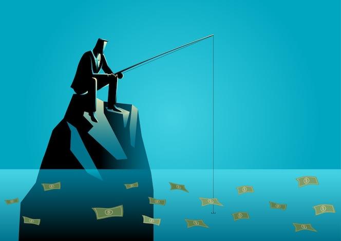 Empresario pescando por dinero