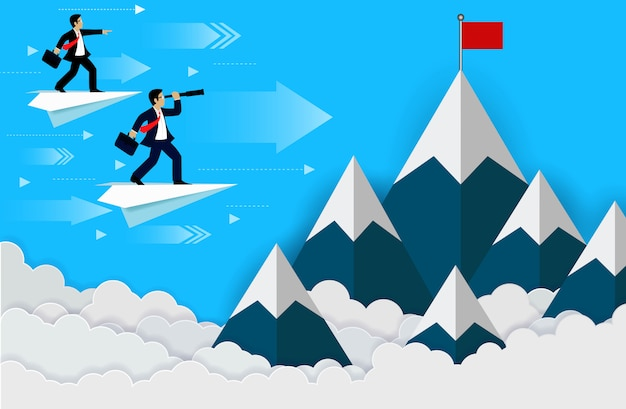 Empresario de pie en un avión mirando con el telescopio a la bandera roja en la cima de la colina,