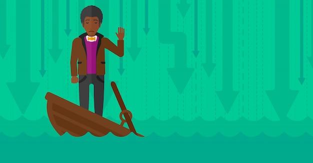 Empresario de pie en el barco que se hunde.