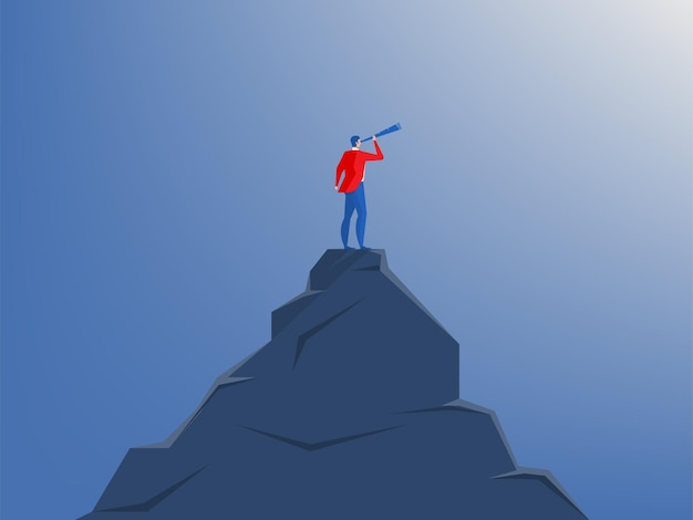 Empresario de pie en la cima del acantilado con telescopio.estrategia de visión, planificación, concepto de negocio