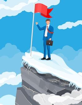 Empresario de pie en la cima de la montaña con bandera y mostrando el pulgar hacia arriba. símbolo de victoria, misión exitosa, meta y logro. ensayos y pruebas. gana, éxito empresarial. ilustración vectorial plana