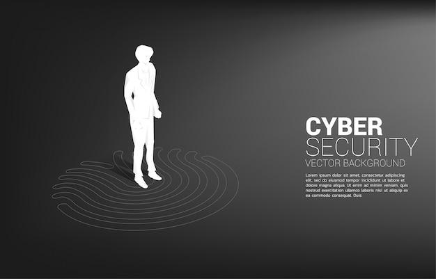 Empresario de pie en la exploración del dedo. concepto de tecnología de seguridad y privacidad en red