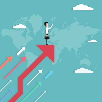 Empresario de pie en la flecha creciente