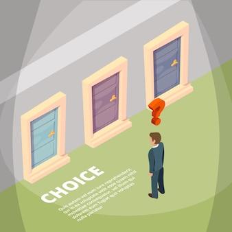 Empresario de pie frente a tres puertas cerradas y tener una opción