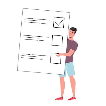 Empresario de pie en la gran lista de verificación. plan de verificación de carácter en el papel. ilustración