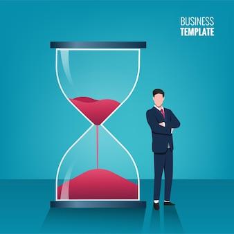 Empresario de pie junto al concepto de reloj de arena. ilustración de negocios