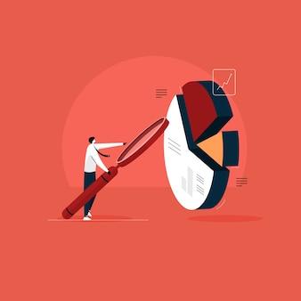Empresario de pie con lupa haciendo análisis de informes comerciales, análisis de datos visuales