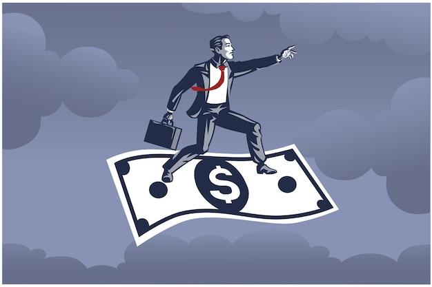 Empresario de pie sobre un billete de dólar volador muy por encima del cielo concepto de ilustración empresarial