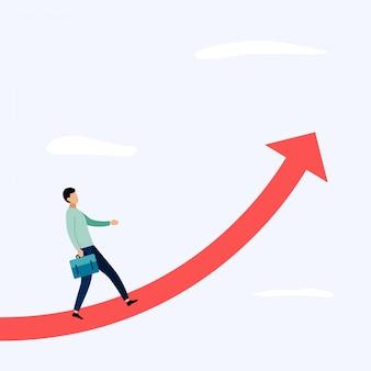 Empresario de pie sobre la flecha, ilustración de conceptos de negocio