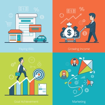 Empresario plano lineal conduciendo bolsas de dinero en carro, diagrama de escalada. pagar facturas, ingresos crecientes, logro de objetivos, concepto de negocio de marketing.
