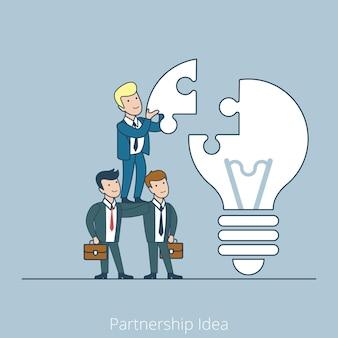 El empresario plano lineal inserta la pieza del rompecabezas en la lámpara idea, puesta en marcha, concepto de negocio de asociación.