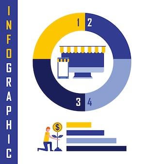 Empresario planta moneda en línea gráfico gráfico infografía negocio