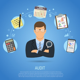 Empresario con plantilla web de elementos de auditoría