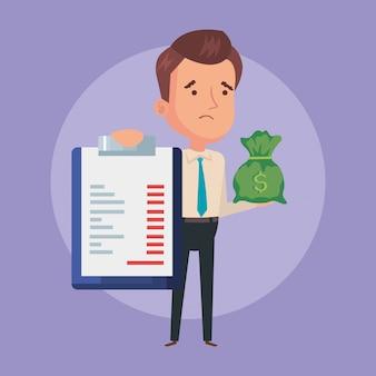 Empresario con portapapeles documento y bolsa de dinero