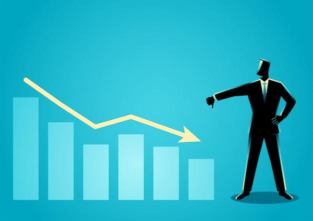 Empresario posando con el pulgar hacia abajo con disminución de la tabla gráfica