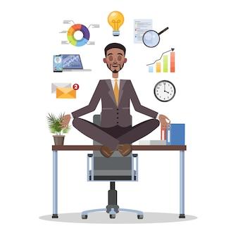 Empresario en postura de loto tras descanso en el trabajo
