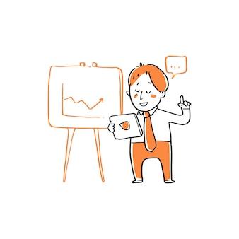 Empresario presenta ilustración