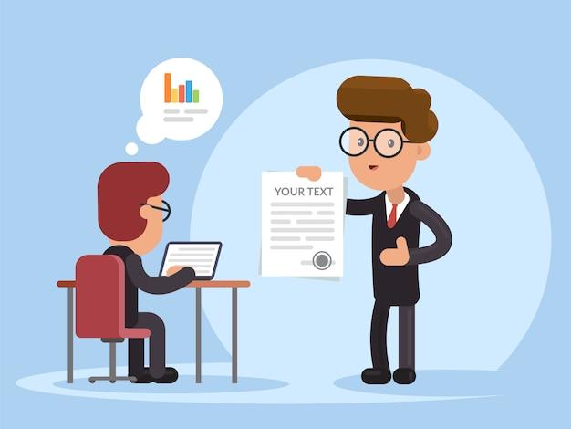 Empresario presentando contrato o documento.
