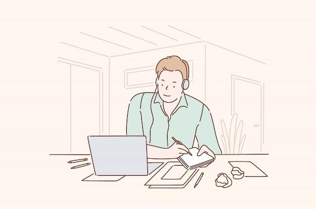Empresario prometedor en el concepto de oficina